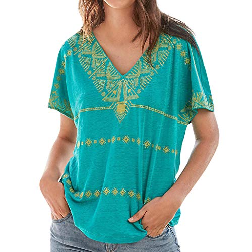 Aniywn Women's Short Sleeve Bohemia V-Neck Print Loose Summer Top Blouse T-Shirt Clothes Mint - Wood Victorian Hood