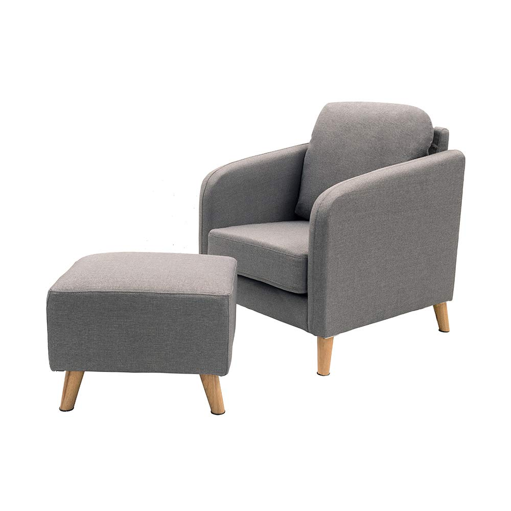 Feifeiyo 1x Retro Grey Fabric Occasional Accent Chair with Footstool Comfy Reading Lounge Chair for Bedroom Living Room