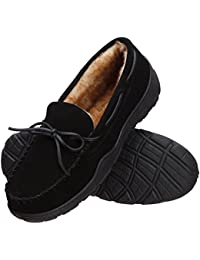 Men's Memory Foam Plush Suede Slip On Indoor/Outdoor Moccasin Slipper Shoe