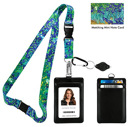 Vincent Van Gogh Irises Print Lanyard with PU Leather ID Badge Holder Wallet with 3 Card Pockets, Safety Breakaway Clip & Matching Note Card. Gift of Carabiner Keychain Flashlight.