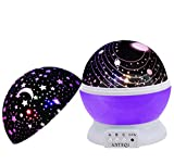 Night Light Kids Lamp, Romantic Rotating Sky Moon & Cosmos Cover Projector Night Lighting for Children Adults Bedroom,Baby Nursery Light, Living Room Gift (Purple)