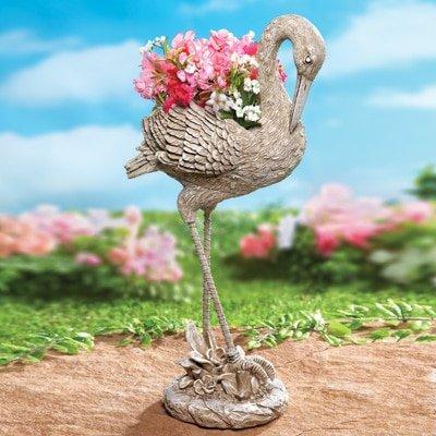 Whimsical Planter Flowers Pot Garden Decoration (crane)