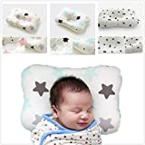 FreedomDesign Newborn Baby Pillow, with Breathable 3-Dimentional Air Mesh and Washable Natural Cotton, Adjustable Height which Prevent Flat Head Syndrome; a Perfect Baby Shower Gift. (Star-Blue)