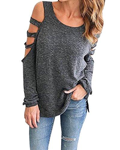Auxo Women's Casual Sexy T Shirt Cut Out Shoulder Top Long Sleeve Blouse Sweatshirt