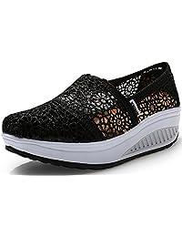 Lisyline Women's Crochet Shape Ups Slip-on Toning Shoe Walking Sneaker