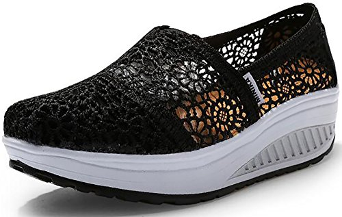 Lisyline Womens Crochet Shape UPS Slip-On Toning Shoe Walking Sneaker Black