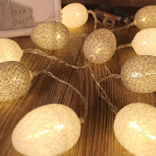 YDZN LED Egg Cotton Thread String Lights Battery Operated Easter Egg Lamps Home Party Decor (B.8attery Power/3.2m/20 leds, (Really Cheap Drum Kit)