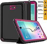Samsung Galaxy Tab A 10.1'' Case, SAYMAC Three Layer Heavy Duty Shockproof Rugged Case with Folding Auto Wake/Sleep Cover for Samsung Tab A 10.1 SM-T580N/T585C-Kids Students Workmen (Black/Rose)