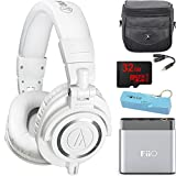 Audio-Technica ATH-M50X Professional Studio Headphones (White) Portable Headphone Amp Bundle includes Headphones, Amplifier, Keychain Power Bank, Bag, Splitter and 32GB MicroSD High-Speed Memory Card