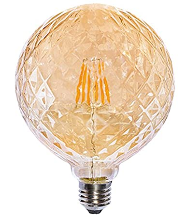 Laes Bombilla Globe LED Diamond E27, 6 W, Dorado, 125 X 175 mm: Amazon.es: Iluminación