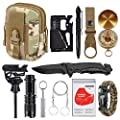 XUANLAN Emergency Survival Kit 13 in 1, Outdoor Survival Gear Tool with Survival Bracelet, Fire Starter, Whistle, Wood Cutter, Water Bottle Clip, Tactical Pen for Camping, Hiking, Climbing by XUANLAN