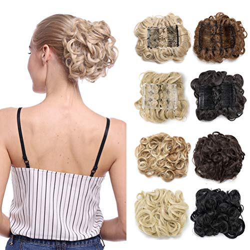 Combs Clip in Bun Claw Jaw on Updo Hairpiece Extensions Wavy Donut Chignons Wrap Around Scrunchy-dark black -