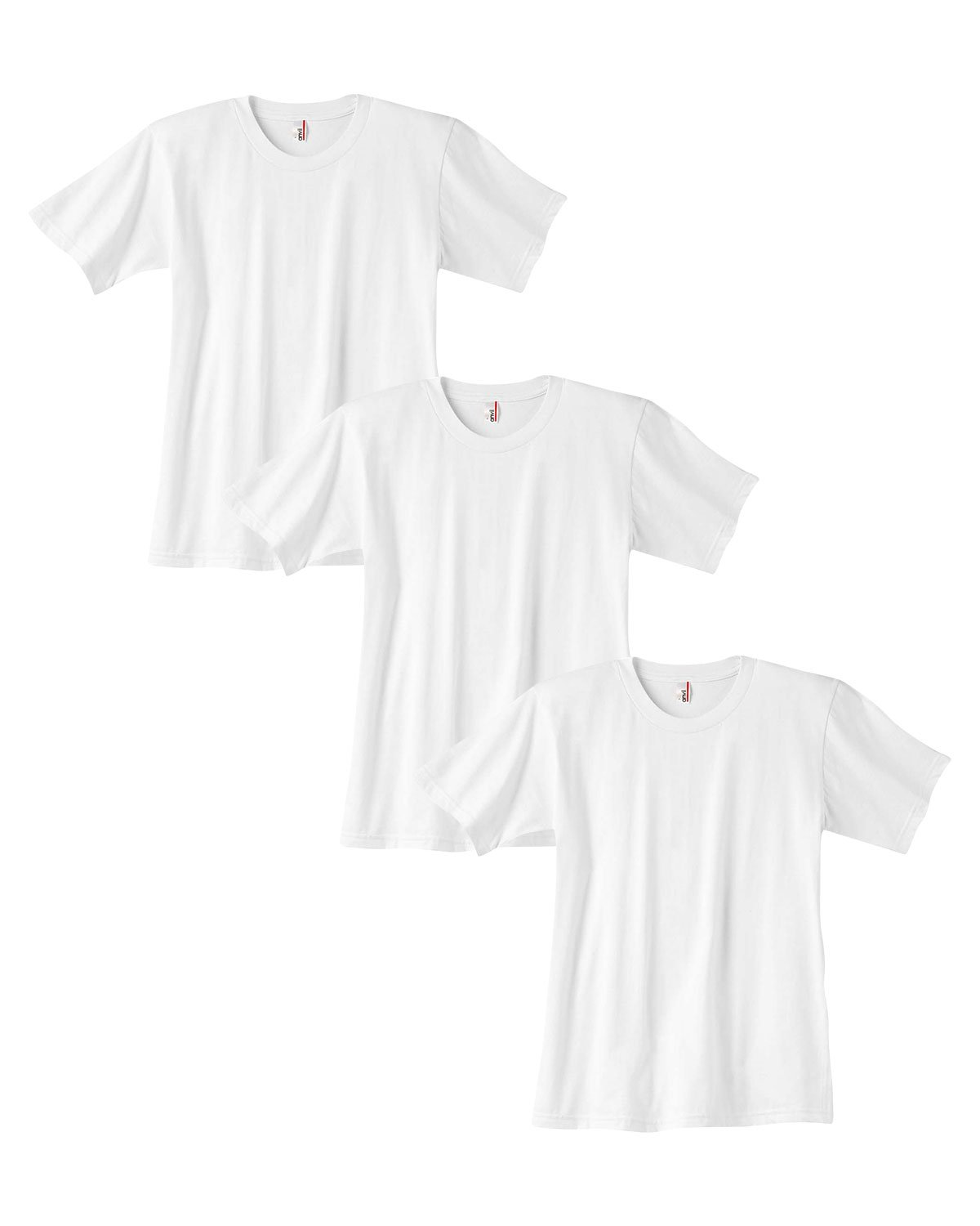 Pack3 Medium. Anvil Youth Crew Neck Fashion-Fit T Shirt White