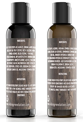 Best Deal Beard Wash & Beard Conditioner Set w/Argan & Jojoba Oils - Softens & Strengthens - Natural Peppermint and Eucalyptus Scent - Beard Shampoo w/Beard Oil (5 oz) by Viking Revolution (Image #7)