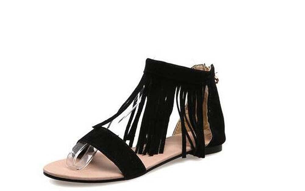 Black 44 Beauqueen Sandales Femme Printemps Et Et/é Plaine Tassel Femmes Noir Beige Loisirs Chaussures De Vacances Sp/écial Taille Europe Taille 30-46