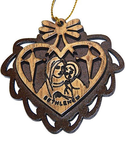 Two Layers Mahogany with Olive wood Mother Mary with Child Ornament gift carved by Laser - Olive wood - all carved inside a Heart (5.5 cm or 2.2 inch with certificate) and gold string