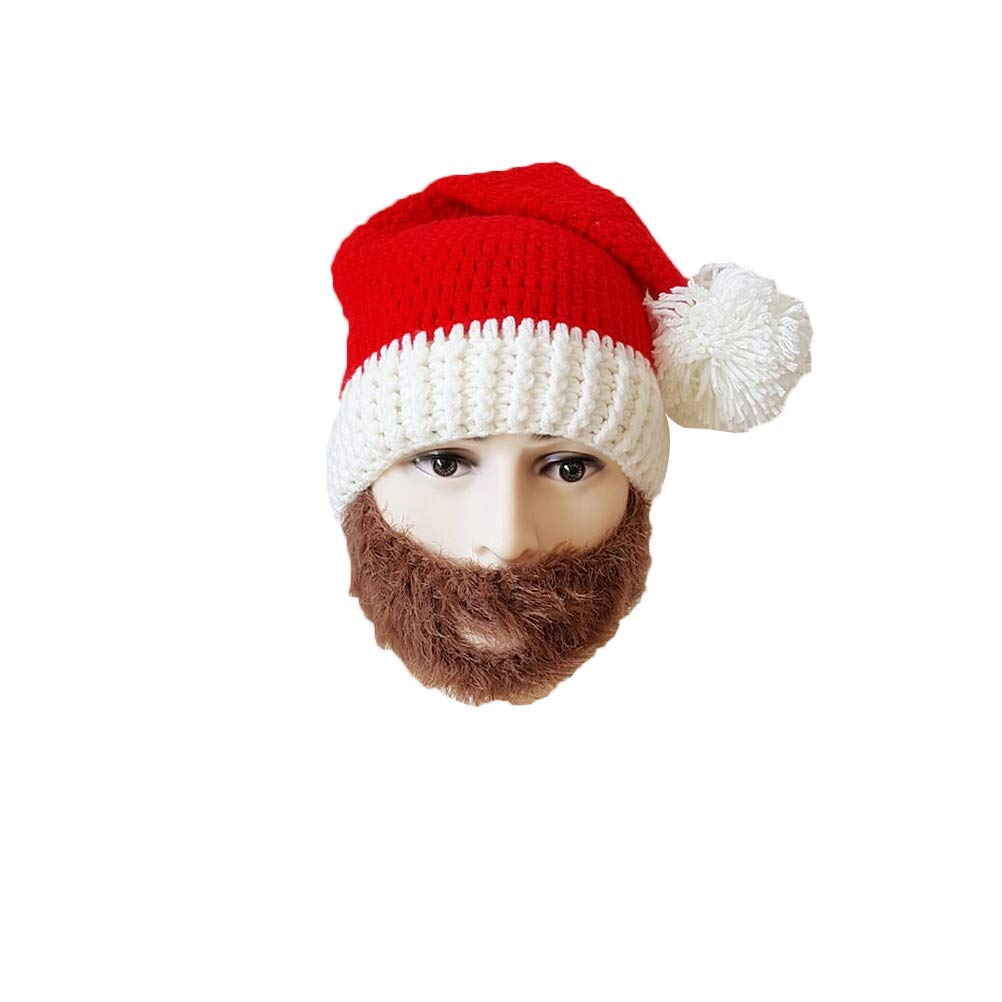 BESTOYARD Weihnachtsmann Mü tze rot Strickmü tze lustige Erwachsene Bart Hü te fü r Weihnachten fü r Mä nner Frauen (braun) TDMA18X8454198JSPV4