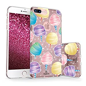 iPhone 7 Plus / iPhone 8 Plus Glitter Case, True Color Sparkase Sparkly Glittering Cotton Candy Print Three-Layer Hybrid Girly Case with Shockproof TPU Outer Cover on Rose Gold Glitter