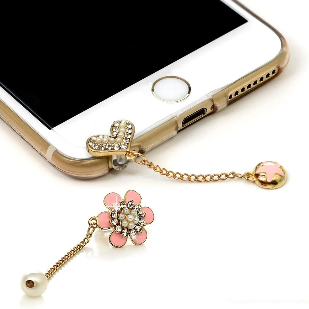 Mavis's Diary 2 Pcs Cute Bling Dust Plugs Accessories/Cell Charms/Ear Jack for iPhone 6 Series,Samsung Galaxy S6 Series,Note 5,HTC M9,LG G4 and Other 3.5mm Earphone Jack Downward (Combination 2)
