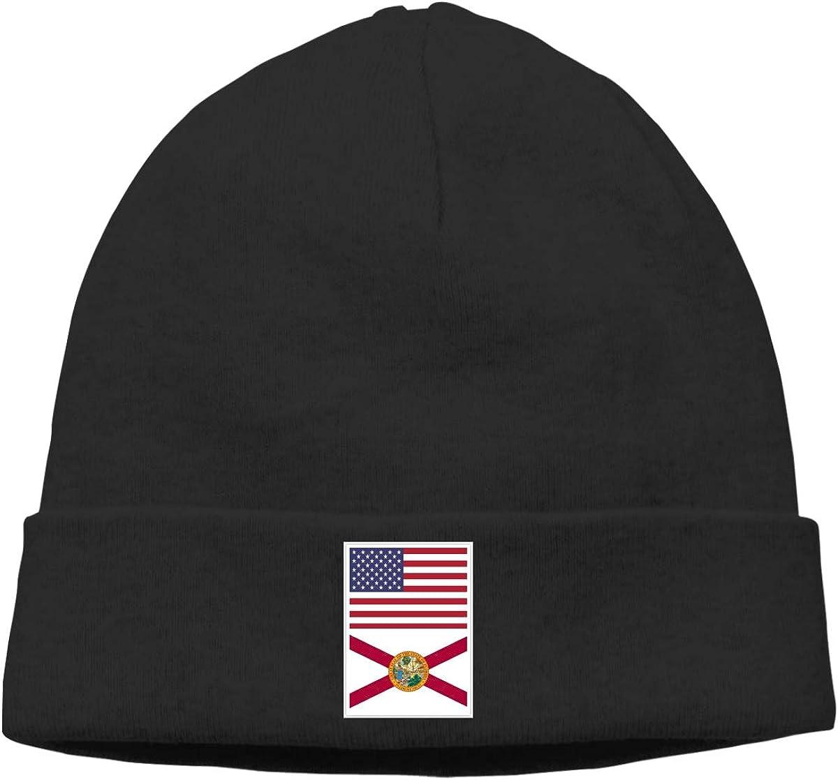 BBlooobow Men Women American Flag and Florida Flag Soft Skull Cap
