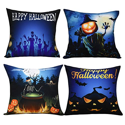 BLEUM CADE Halloween Theme Pillow Covers Happy Halloween and Pumpkin Throw Pillow Case Daily Decorations Sofa Throw Pillow Case Cushion Covers Zippered -