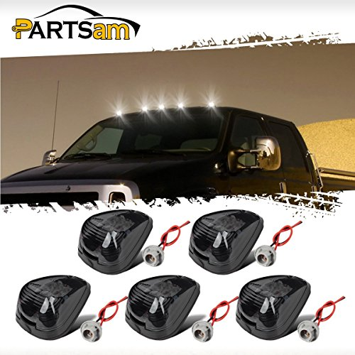Ford F250 Cornering Light (Partsam 5PCS Smoke Lens White LED Cab Roof Marker Top Clearance Running Light Assembly/w T10 Socket For 1999-2016 Ford F-250 F-350 F-450 F-550 Super Duty 2017 2018 E-350 E-450 Super Duty Pickup Truck)