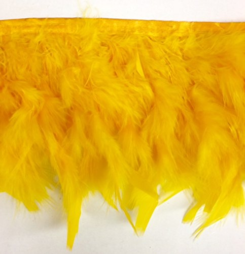 Golden Yellow Candele Turkey Fluff Feather Fringe Trim 5.5'' - 6'' Long Selling Per ()