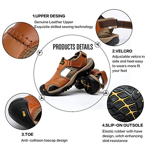 Strap Sandals Sport Adustable Outdoor Water Athletics Mens Hiking BINSHUN Beach Brown Fisherman Shoes Sandal Leather PEqBx5w