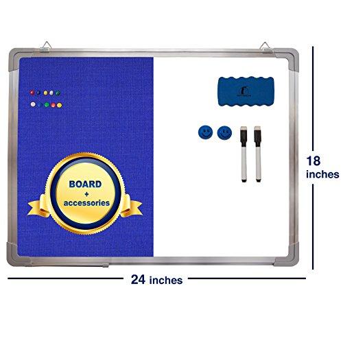 Combination Whiteboard Bulletin Board Set - Dry Erase / Tack Felt Board 24 x 18