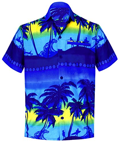 LA LEELA Mens Hawaiian Collar Floral Beach Shirt Front Pocket Button Down Blue