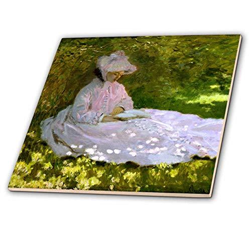3dRose VintageChest - Masterpieces - Claude Monet - The Reader - 12 Inch Ceramic Tile (ct_303321_4)