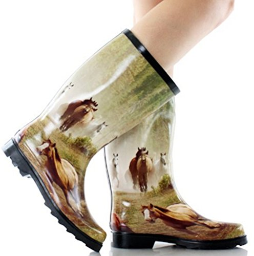 Rain Mid Proof La Boots Horse Grafitti Weather in French Fashion Leopard Bella Calf Zebra Rubber Women's t1qxY8nq