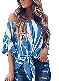 Asvivid Womens Striped Tube Ruffle Short Sleeve Tee Tops Ladies Summer Blouse Tunics Large Blue