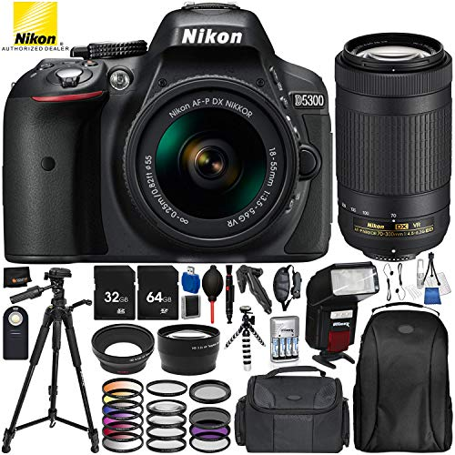 "Nikon D5300 with AF-P DX 18-55mm f/3.5-5.6G VR + Nikon AF-P DX 70-300mm f/4.5-6.3G ED VR 25PC Accessory Bundle - Includes 64GB & 32GB SD Memory Card + 72"" Tripod + Automatic Flash w/ LED Light + MORE from Nikon"