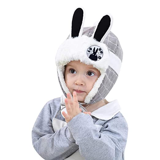235389cf7173f Toddler Kids Trooper Faux Fur Winter Hat Rabbit Ears Plaid Earflap Beanie  Hats for Baby Boys
