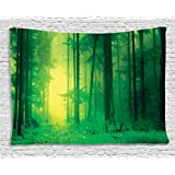 Ambesonne Mystic House Decor Collection, Fantasy Springtime Forest Tall Trees With Magical Light Fairytale Twilight Art Print, Bedroom Living Room Dorm Wall Hanging Tapestry, 60 X 40 Inches, Green
