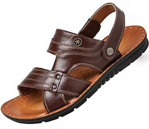 Vocni Mens Open Toe Casual Comfort In Pelle Sandali Per Uomo Sandali In Pelle Marrone