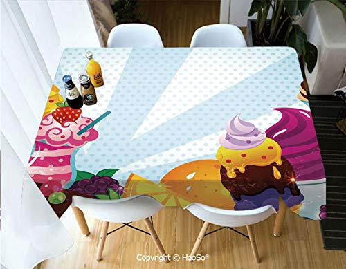 HooSo Fabric Rectangular Table Cloth, Washable Table Cover Perfect for Christmas, Thanks Giving, Dinner Parties, BBQ and Everyday Use,Ice Cream Decor,Yummy Menu with Chocolate Raspberry,60