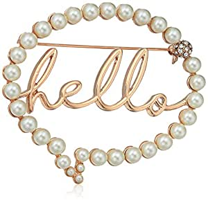 Betsey Johnson Women's Hello Bubble Brooches and Pin, Pearl