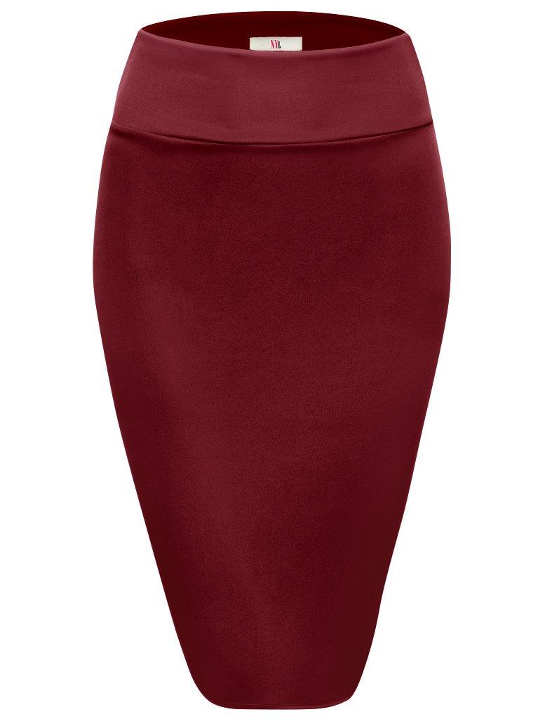 NYL Apparel Womens Below Knee High Waist Office Pencil Skirt
