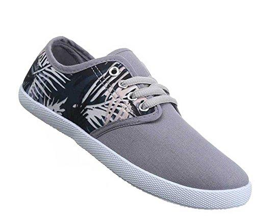 Damen-Schuhe Sneaker | sportliche Freizeitschuhe in verschiedenen Farben und Größen | Schuhcity24 | Schnürer | Florales Muster Grau