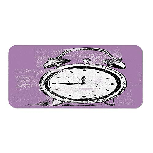 Doodle Ordinary Mouse Pad,Retro Alarm Clock Figure with Grunge Effects Classic Vintage Sleep Graphic for Computers Laptop Office & Home,15.75''Wx23.62''Lx0.08''H