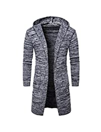 WSLCN Mens Outerwear Long Sweaters Hooded Knitted Open Edge Thicker Cardigan