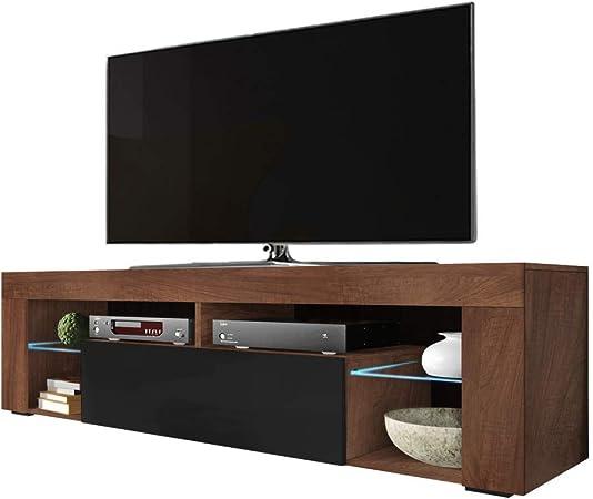 Selsey BIANKO - Mueble TV Moderno/Mesa TV/Mueble para Salón / 140 cm (con LED, Nogal/Negro Brillante): Amazon.es: Electrónica