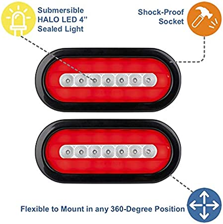 Lumitronics RV HALO LED 6 Sealed Oval Stop//Turn//Tail Lights Clear Pair