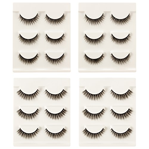 MADHOLLY 12 Pairs Light and Soft Eyelashes Natural Looking and Fluffy Fake Eyelashes- Daily Wear