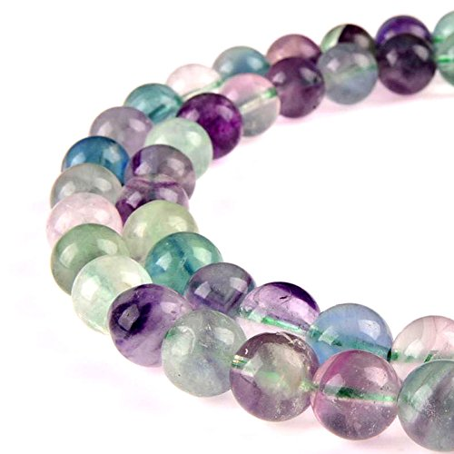 - PLTbeads Gorgeous Flourite Natural Gemstone Loose Beads 6mm Smooth Round Approxi 15.5 inch DIY Bracelet Necklace For Jewelry Making
