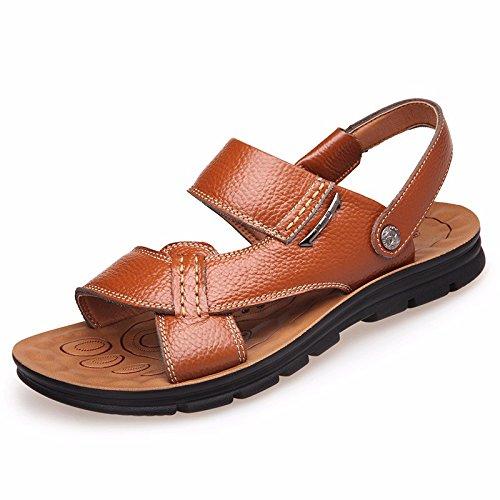Männer Sandalen Männer Echtleder Das neue Strand Schuh Jugend Sommer Trend Schüler Sandalen Freizeit Schuh ,Gelb,US=10,UK=9.5,EU=44,CN=46