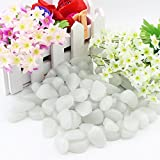 100Pcs Man-made Glow in the Pebbles Stone for Garden Walkway and Decor DIY Decorative Gravel Stones (Green)
