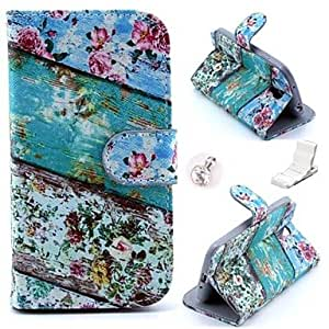 TOPQQ Floral Green Wood Pattern PU Leather Case and Mini Display Stand with Diamond Dust Plug for Samsung Galaxy S4